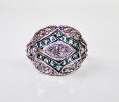 Victoria Wieck Sterling Silver Emerald CZ Victorian Vintage Style Absolute Ring #VictoriaWieck #Cocktail