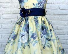 Vestido Festa Infantil - Floral Azul