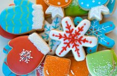 Cute mitten, snowflake, and candy decorated cookies, are the perfect touch to a winter candyland party... :)