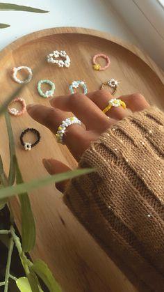 Diy Rings, Cute Rings, Bead Jewellery, Jewelery, Seed Bead Jewelry, Cute Jewelry, Jewelry Accessories, Funky Jewelry, Hippie Jewelry