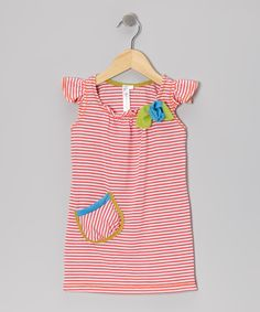 Take a look at this Red Currant Kids Coral Stripe Angel-Sleeve Dress - Toddler & Girls on zulily today!