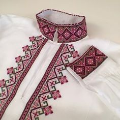 "image by Berit Norenberg ( with caption : ""Beltestakkskjorte med korsstingsbroderi - 1053040072498686154 Cross Stitching, Cross Stitch Embroidery, Hand Embroidery, Scandinavian Embroidery, Embroidery On Kurtis, Palestinian Embroidery, Frozen Costume, Folk Fashion, Fabric Beads"