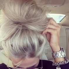 Love the color and messy bun