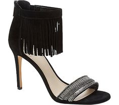 Vince Camuto Trumen - Black Verona/Canvas with FREE Shipping & Returns. Trumen is a gorgeous fringe detailed two piece shoe with a zipper opening.