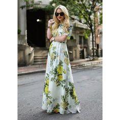 Drape in Vogue Green & White FauxChiffon Printed Dress @Looksgud.in #DrapeinVogue #GreenAndWhite