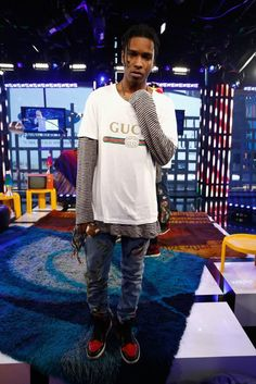 ASAP Rocky at the MTV Studios in a white washed Gucci T-Shirt