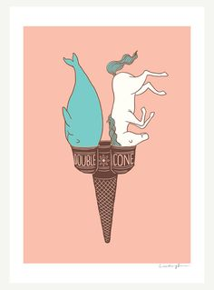 Double Cone art print|♡by Lim Heng Swee (ilovedoodle) on Etsy
