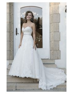 Gorgeous lace drop waisted ballgown with beaded belt available at Spotlight Formal Wear! #SpotlightBridal
