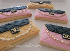 CHANEL purse cookies by www.lvsweets.com