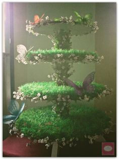 Fairy/Flowers and Butterflies themed cake and cupcake tower