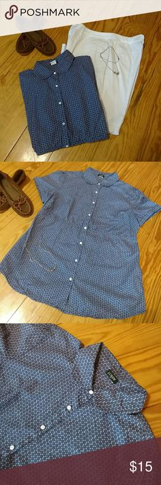 "J Crew Cotton Blouse Super cute blue and white cotton blouse. Cap sleeves. Button down. Cinched waist. 17"" across bust. 25"" from top to bottom. Like new condition. J. Crew Tops Button Down Shirts"