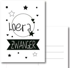 Postkaart hoera zwanger Diy Birthday, Birthday Cards, Doodle Quotes, Baby On The Way, Handwriting, Party Time, Banner, Doodles, Bullet Journal