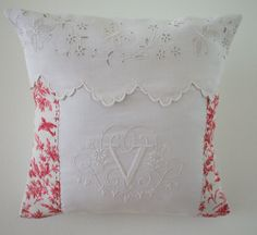 ANTIQUE FRENCH MONOGRAMMED LINEN PILLOW HAND EMBROIDERED TOILE DE JOUY DAMASK