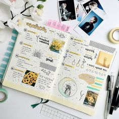 Bullet journal weekly layout, star doodles, plant doodles, hand lettering.   @oceanstudy