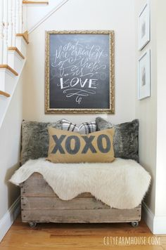 Anthropologie Inspired xoxo Pillow & Cozy Valentine's Day Nook-City Farmhouse