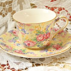 This chintz cup and saucer is a pattern by, Royal Winton's Welbeck. This is the 1995 reissue.