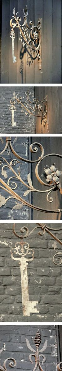 Antique French wrought iron hanging sign for a Locksmith's shop c.1900