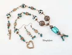 Copper and aqua lampwork bead necklace and earrings by Dinglefritz, $80.00 USD