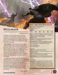 Tired of those pesky spellcasters ruining your carefully laid DM plans? Nullify their magic with a spellbreaker ambush! These are suitable for and form a great addition to the scrutineer, wyrm, and herder as a strike force. Dungeons And Dragons Homebrew, D&d Dungeons And Dragons, Dnd Dragons, Dnd Classes, Dungeon Master's Guide, Dnd 5e Homebrew, Dnd Monsters, Fantasy Monster, Tabletop Rpg