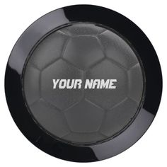 Black Soccer Ball Personalized Name USB Charging Station