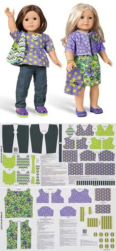 LET'S PLAY DOLLS KIT- featured on Keepsake Quilting. Actually have made these and they look better than photo. Sewing Doll Clothes, Sewing Dolls, Girl Doll Clothes, Girl Dolls, Ag Dolls, Doll Dress Patterns, Doll Sewing Patterns, Clothing Patterns, American Girl Crafts