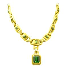 Kieselstein-Cord Green Tourmaline Gold Necklace | From a unique collection of vintage drop necklaces at https://www.1stdibs.com/jewelry/necklaces/drop-necklaces/