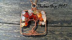 Carnelian tree of life pendant necklace world tree necklace