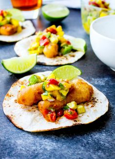 Beer-Battered Fish Tacos with Mango Avocado Salsa