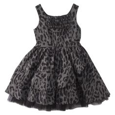 Harajuku Mini for Target® Girls' Sleeveless Leopard Print Ruffle Dress - Gray $24.99