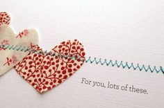 cute fabric sewn to paper valentines