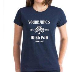 CafePress Personalized Irish Pub T-Shirt, Size: Small, Blue