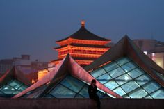 Xi'an, China, once the starting point of China's fabled Silk Road (the ancient Bell Tower is in the background)