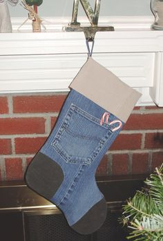 Christmas is only 5 months away!  Check out this stocking made from recycled denim!