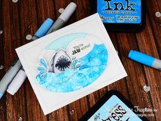 Shark Card by Nina-Marie Trapani   Shark Bites Stamp set and Die set by Newton's Nook Designs #newtonsnook #sharkweek