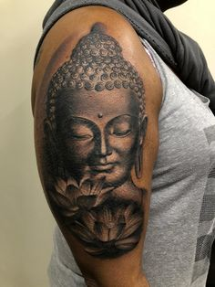 Buddha tattoo by Lorand! Limited availability at Revival Tattoo Studio! - Buddha tattoo by Lorand! Limited availability at Revival Tattoo Studio! You are in the right place a - Buddha Tattoo Design, Buddha Tattoos, Buddah Sleeve Tattoo, Tattoos For Women Half Sleeve, Back Tattoo Women, Lotusblume Tattoo, Hand Tattoos, Ganesha Tattoo, Reaper Tattoo