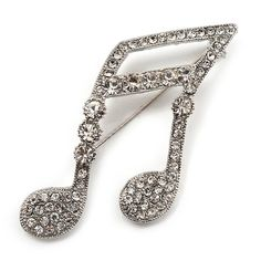 Large Crystal Musical Note Brooch (Silver Tone Metal) ** You can find out more details at the link of the image. #BroochesandPins