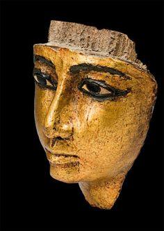 Face from coffin, detail. Carved gilded wood, depth, 7.5, cm, length, 16.6, cm, width, 11.9, cm. 1186 B.C. — 1069 B.C., Twentieth Dynasty.