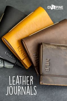 Our journals make the perfect gifts with a variety of color options, sizes, closure types, and personalization options Leather Gifts, Handmade Leather, Mother Day Gifts, Fathers Day, Leather Journal, Graduation Ideas, Ox, Journals, Pine