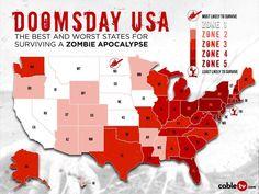 Best state to survive a 'zombie apocalypse'? Walking Dead Season Premiere, Doomsday Prepping, Zone 5, Zombie Apocalypse, Survival, Cable, Tv, Doomsday Preppers, Zombie Apocolypse