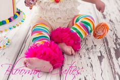 Rainbow CANDY Stripe with Bright Pink Chiffon Super Ruffle Infant Baby Girl Leg Warmers by Bloomin Cuties Boutique