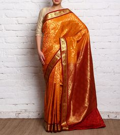 Yellow Red #Kanjivaram Silk #Saree #Indianroots