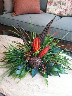 Handmade Repen Pods & Feathers Silk Floral Arrangement - Tile Topper Arrangement by Greatwood Floral Designs www.greatwoodfloraldesigns.com