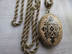 Antique Victorian Enameled Locket Necklace Gold Fill