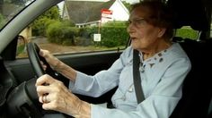 "At the age of 100 Peggy Hovell is still driving in life's fast lane.  ""I just love driving and I like driving fast,"" says the centenarian, who used to drive a van and deliver groceries during World War II.  What a woman."