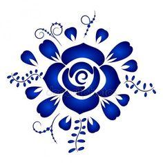 Design Elements floral Ornament im Gzhel Stil isoliert auf weiss Vektorgrafiken