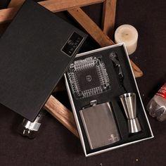 Swanky Gift Set Hip Flask Peg Measure Wine Opener Set   Wine Opener Set, Flask, Best Gifts