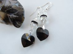 Black Swarovski Crystal Heart Earrings Gothic by pnljewelrydesigns, $22.00