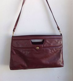 Vintage Etienne Aigner Oxblood or Cordovan Oversized Convertible Clutch/Purse on Etsy, $28.00