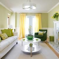 seafoam green dining room | yellow and green living room, yellow curtains, yellow drapes, green ...