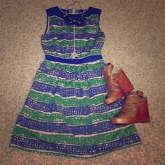 Dear creatures blue and green dress Size small blue and green dear creatures dress. Never worn. Material is thick. Very well made. Small triangle cut in the front of the dress Anthropologie Dresses Strapless